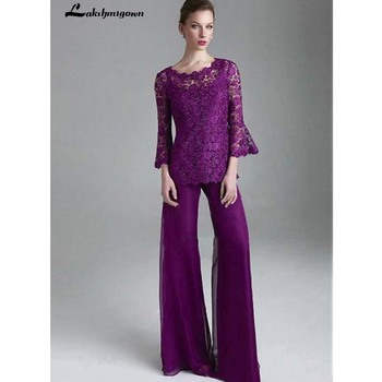 Purple Lace Mother Of The Bride Pant Suits Jewel Neck Long Sleeves Wedding Guest Dress Plus Size Chiffon Mothers Groom Dress purple geometrical pattern round neck long sleeves christmas dress