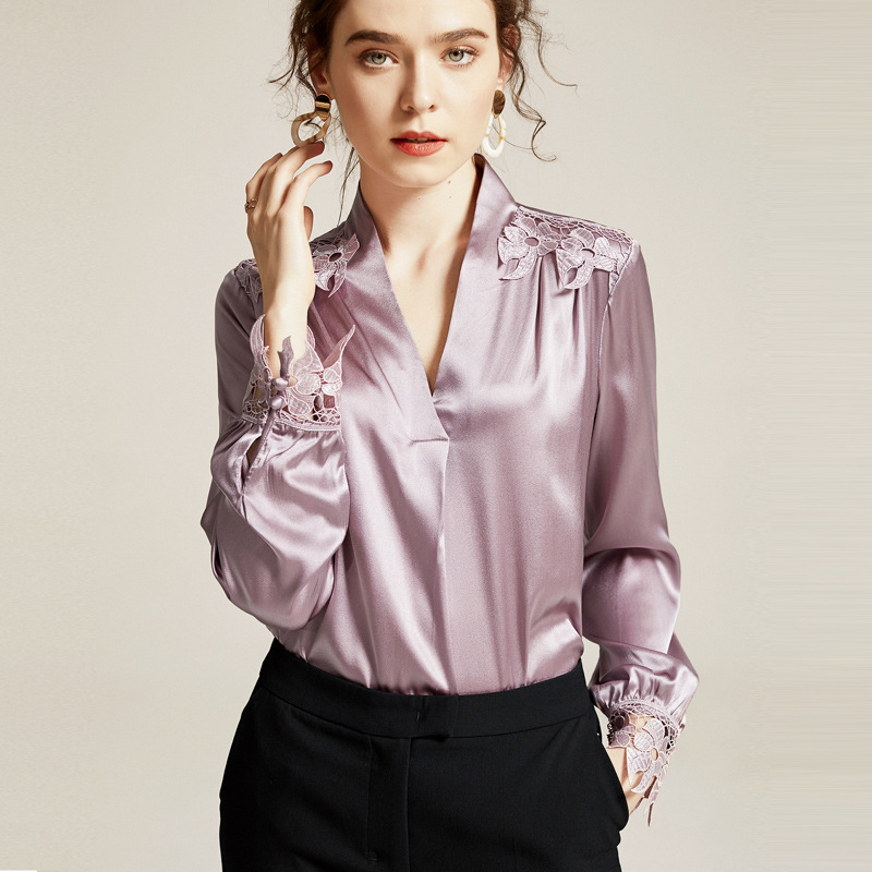 Luxury Embroidery Pure Silk Blouse Vintage Light Purple V Neck Pullover Spring Soft Stain Shirt Women Long Sleeve Tops Casual za