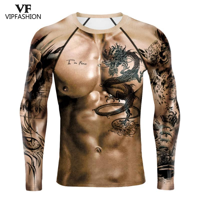 VIP FASHION Muscle Long Shirt Tops Naked Printed 3D Shirt Gym Tee Shirt Streetwear Mens Cool Funny Chest Muscle Fitness Long Tee