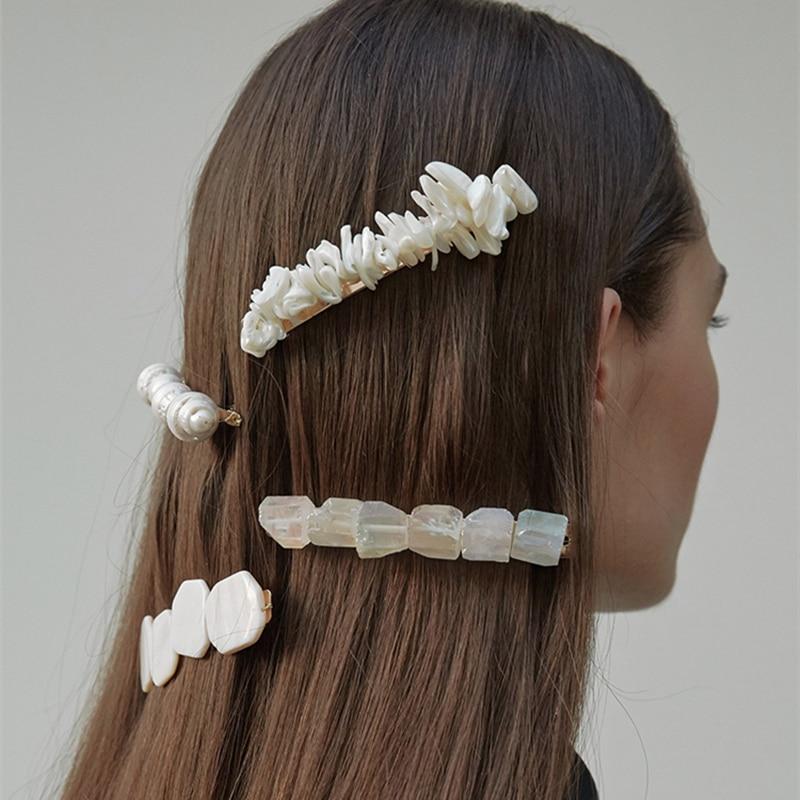 HZ 2019 Elegant Baroque Freshwater Pearls Korea New Hair Clip Hair Grip Barrettes Hairpin Hair Accessories for Women Holiday