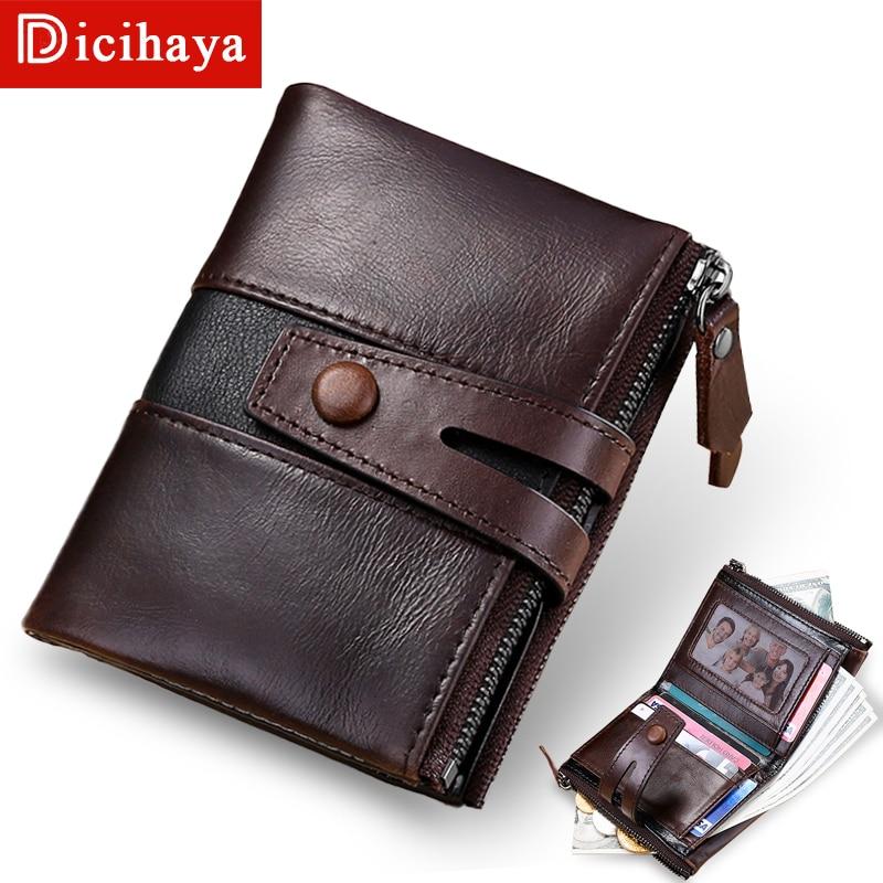 DICIHAYA NEW Splice 100% Genuine Leather Men Wallet Coin Purse Small Mini Card Holder Double Zipper Portomonee Male Walet Pocket