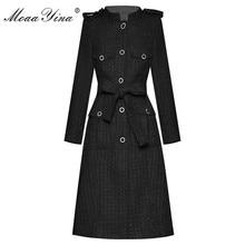 MoaaYina ファッションデザイナーウール布ウインドブレーカーオーバーコート秋の女性シングルブレスト長袖オーバー