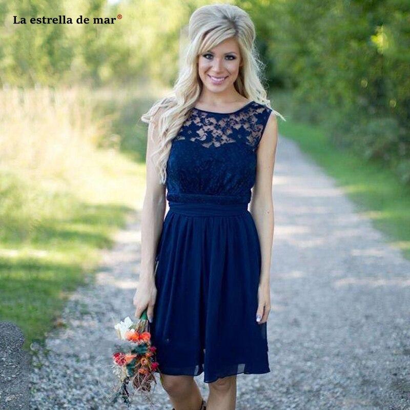 Vestido Madrinha New Lace Chiffon A Line Royal Blue Braidsmaid Dresses Short Estidos De Fiesta Baratos Custom Wedding Guest Gown