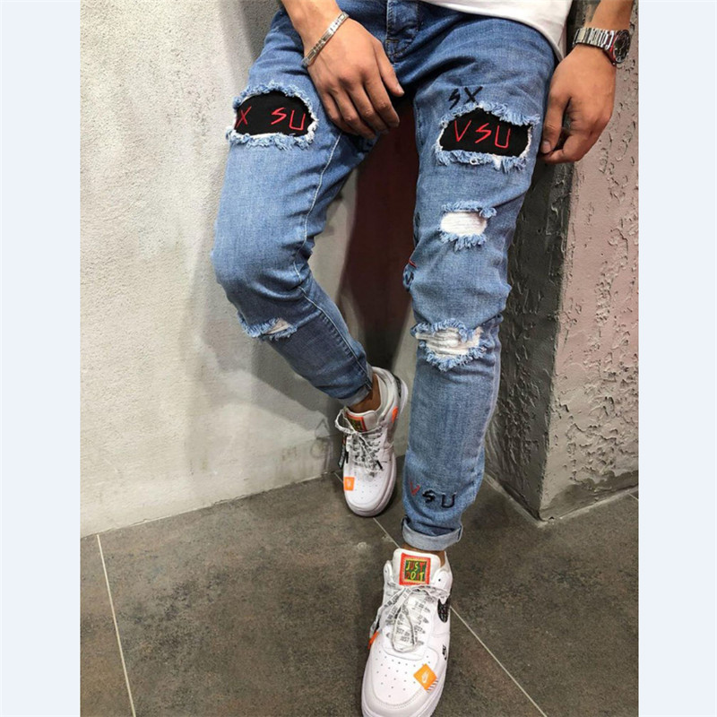 2020 Spring Men Fashion Elastic Skinny Hole Ripped Jeans Pants Bodycon Stretch Denim Long Trousers Pencil Pants Men Clothes