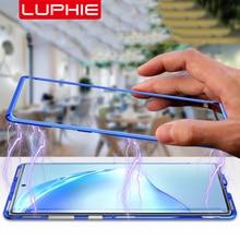 Luphie Magnetic Case voor Samsung Galaxy Note 10 Plus Back 9H Glas Gehard Film Magneet Aluminium Metal Case Cover note10 + tien