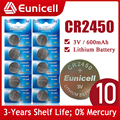 Eunicell 10PCS CR2450 3V Watch Battery KCR2450 5029LC LM2450 DL2450 ECR2450 BR2450 CR 2450 600mAh Lithium Coin Cell Batteries