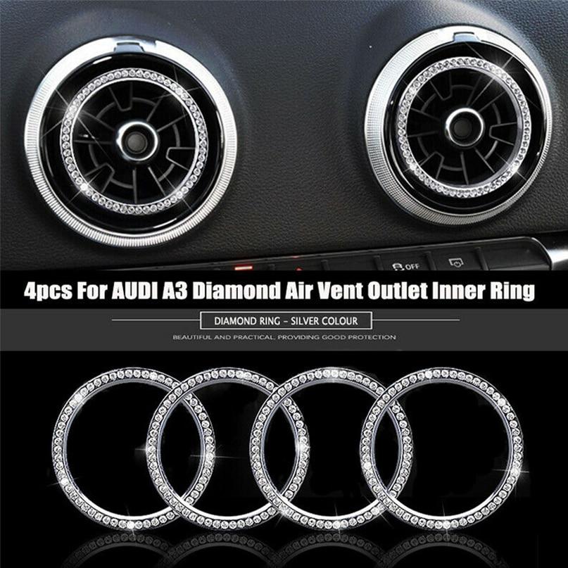 4pcs Diamond Air Vent Outlet Decorative Rings Trims For Audi A3 8V 2012-2015