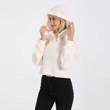 купить 2019 New Winter Women Minimalist Solid Drop Shoulder Hoodies Sweatshirt Autumn Casual Crop Teddy Pullovers Sweatshirts drop ship по цене 1625.02 рублей