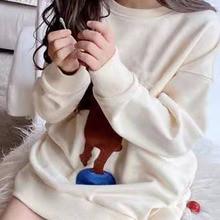 In Stock 2021 Spring GU Baby Girls Sweatshirt Cartoon Print White Sweatshirts Baby Boys Clothes Teen Girls Clothing