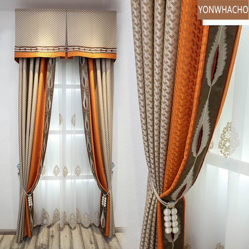 Custom curtains luxury high-end atmosphere high-precision modern European coffee cloth blackout curtain valance tulle panel B521