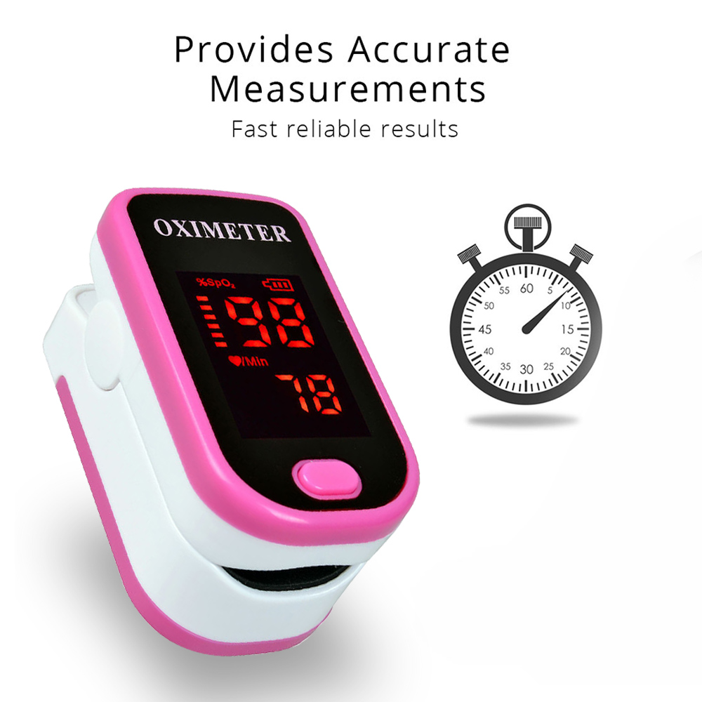 Finger type pulse oximeter, heart beat 1 min saturation monitor pulse rate blood oxygen SPO2 CE approval - blue