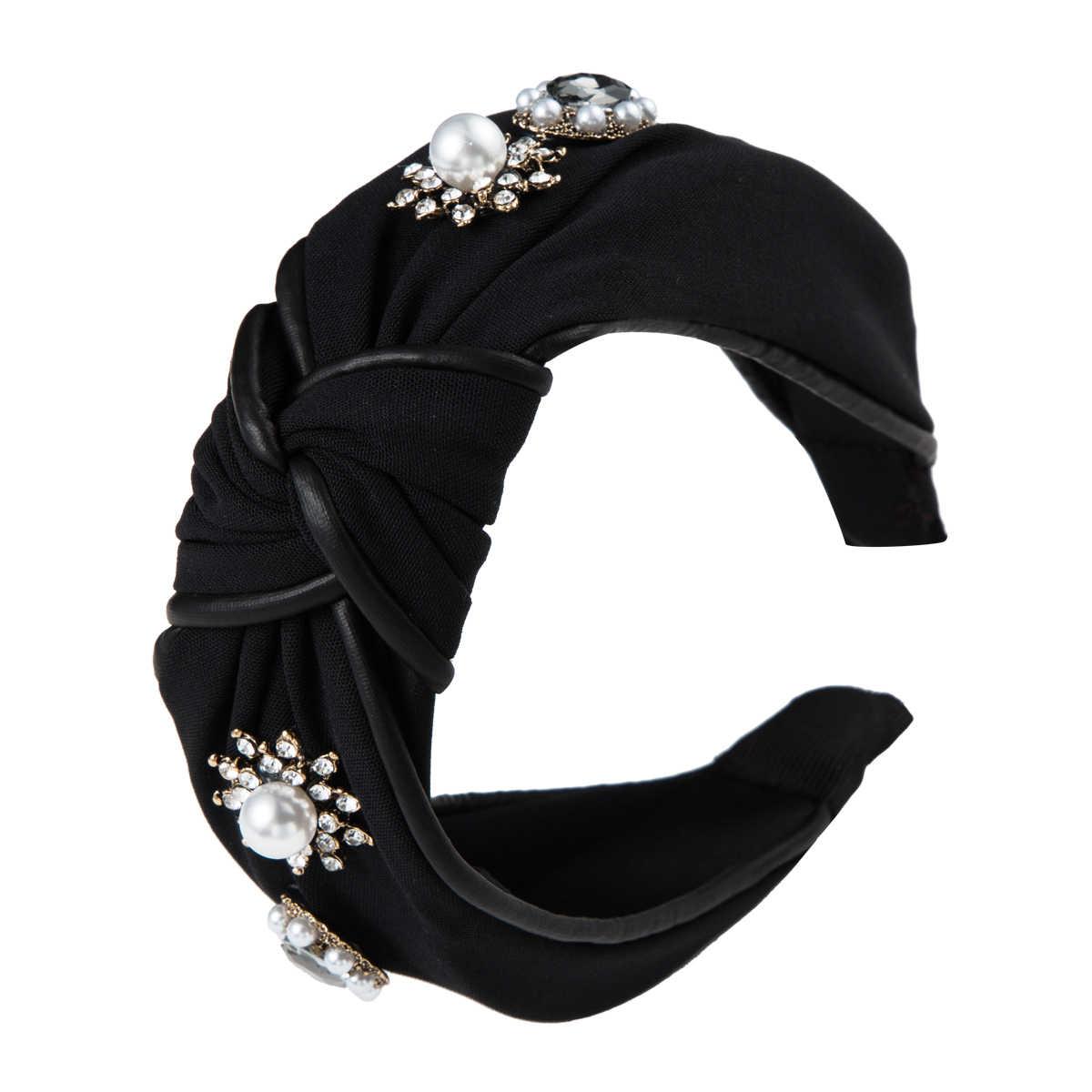 2020 coreano Strass Imitazione Della Perla Dei Capelli Del Cerchio per la Donna Ragazze Panno Avvolto Increspato Fascia per la Testa di Perle Annodate Larga Fasce Per Capelli