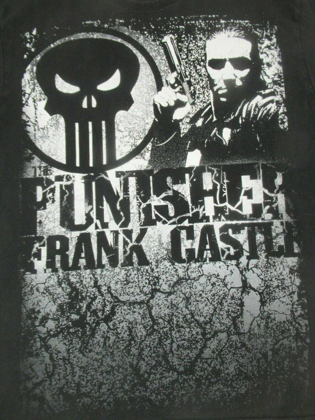 Rare Marvel The Punisher Comic Book Style Frank Castle -Black Xl T-Shirt- A384 image
