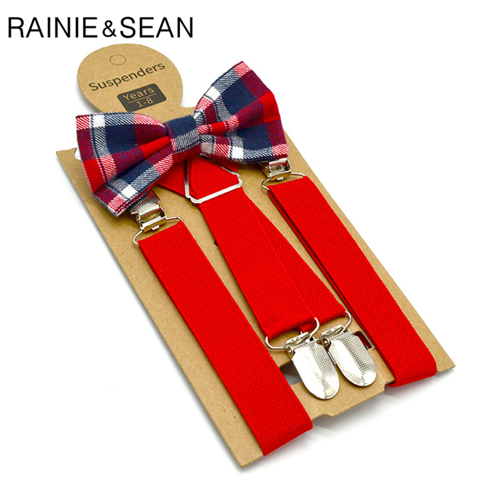 RAINIE SEAN Red Kids Suspenders With Bow Tie Leather Children Braces British Style Wedding Red Gray Solid Boys Suspenders 65cm
