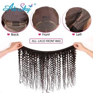 Image 4 - Siyah kadınlar için kısa kıvırcık peruk 13*6 Kinky kıvırcık dantel ön peruk brezilyalı Remy saç ön koparıp kısa kıvırcık Bob HD dantel peruk 180%