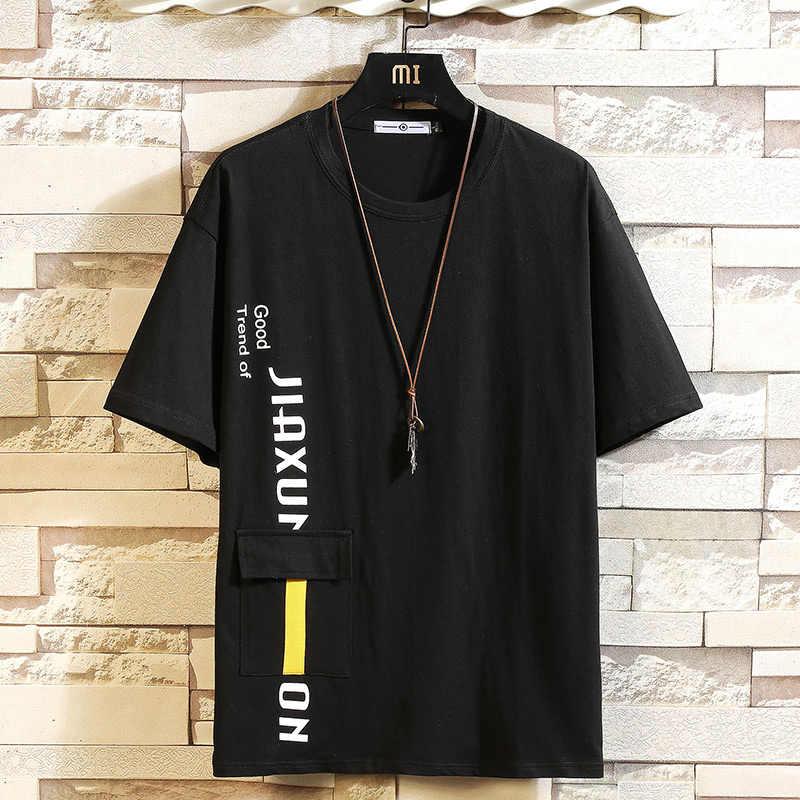 קצר שרוול חולצה גברים 2020 קיץ לבן שחור חולצת טי למעלה Tees היפ הופ פאנק רוק אופנה בגדים בתוספת גודל m-4XL 5XL O צוואר