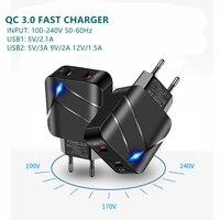 Cargador rápido QC 3,0, USB Dual miniadaptador con 2 puertos de carga rápida para iPhone 12Pro, HUAWEI MI, teléfono móvil