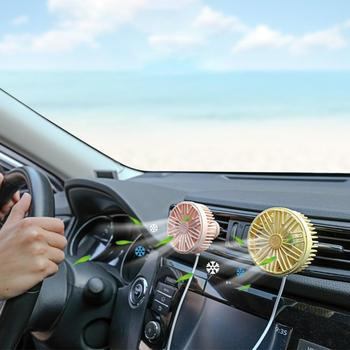 Mini Electric Car Air Conditioning Fan Rotatable Car Vehicle Air Vent USB LED Light Cooling Fan Cooler image