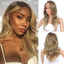 Peluca con malla frontal sintética para mujer cabello ondulado, P4/27, color Perruque Lisse Lace, pelucas naturales para mujeres negras Riversa