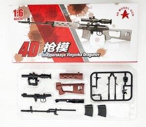 "Image 2 - 6Pcs/set Coated Gun Model Sniper Rifle SVD,PSG 1,MK14,DSR 1,TAC 50 1:6 Assembly Kits Weapon For 12"" Action Figure Collection Toy"