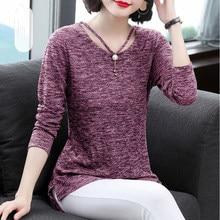 Camisetas femininas primavera verão estilo topos senhora casual manga longa o-pescoço cinza camisetas df3026