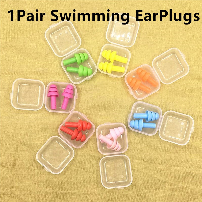 1Pair Waterproof Silicone Swimming Earplugs For Adult Swimmers Children Diving Soft Anti-Noise Ear Plug For Study Sleeping