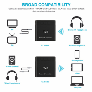 Image 2 - DISOUR TX8 5,0 Bluetooth Empfänger Sender Mit Volumen Control Taste 2 in 1 Audio Wireless Adapter 3,5 MM AUX Für auto TV PC