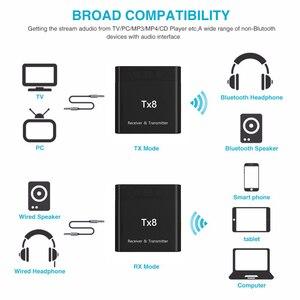Image 2 - DISOUR TX8 5.0 Bluetooth alıcısı verici ses kontrol düğmesi ile 2 in 1 ses kablosuz adaptör için 3.5MM AUX araba TV PC