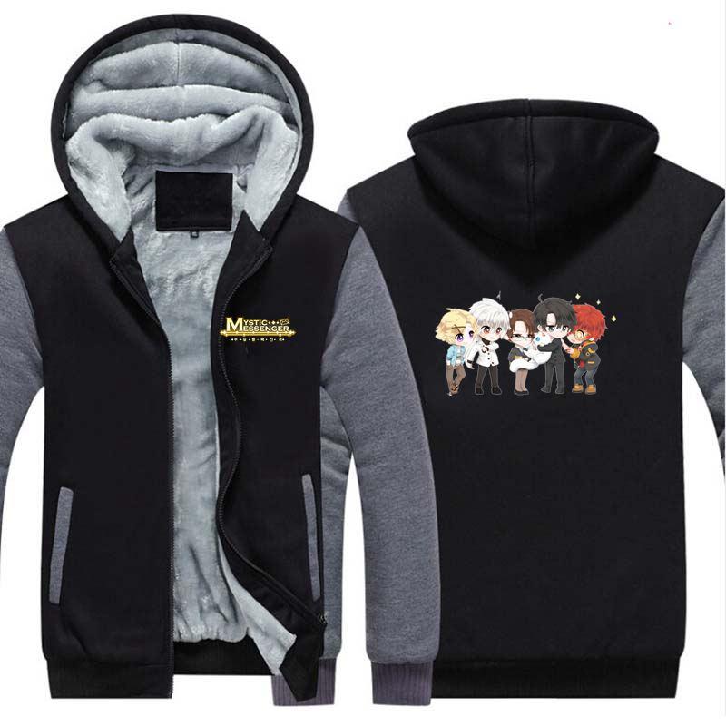 New Game Mystic Messenger 707 Winter Hoodie Sweatshirts Cosplay Anime Thicken Warm Coat Hooded Men Women Clothing Gift