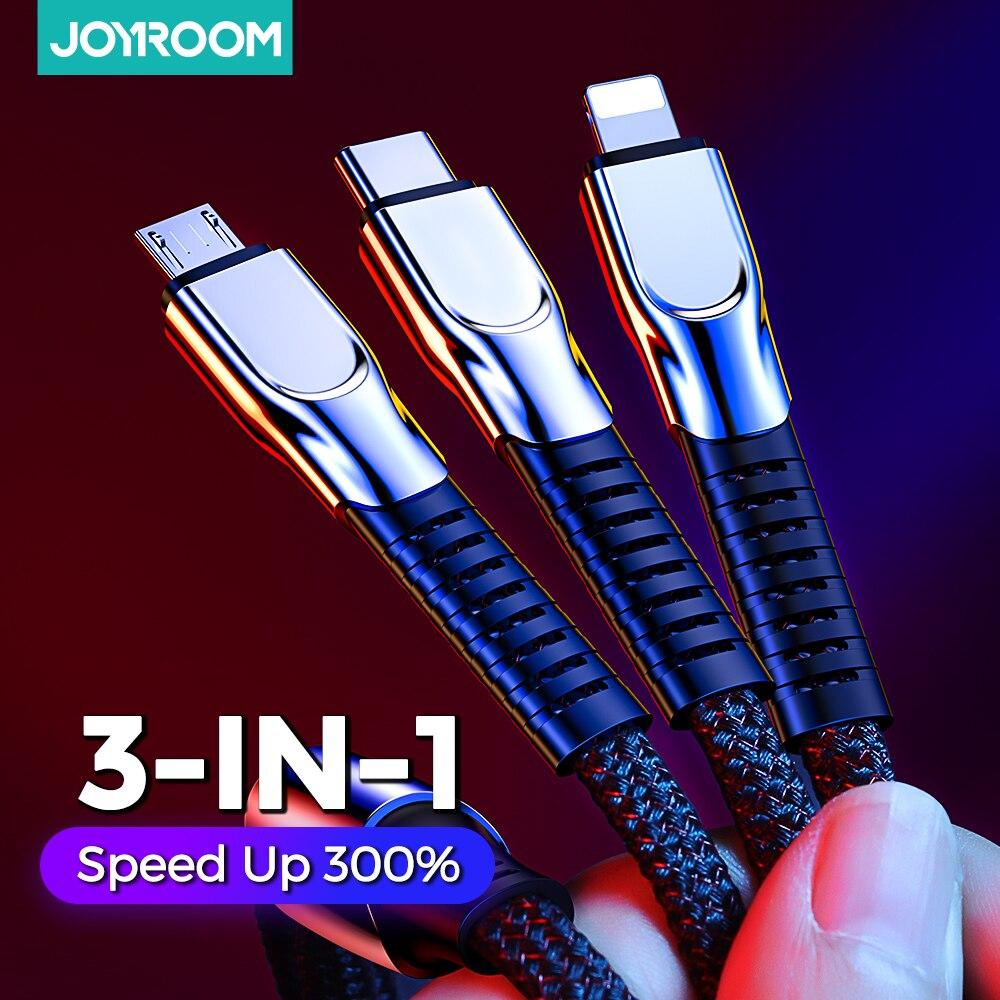 3 en 1 USB Type C Micro USB câble type-c Portable Charing câble pour Xiaomi Samsung charge rapide pour iPhone Joyroom