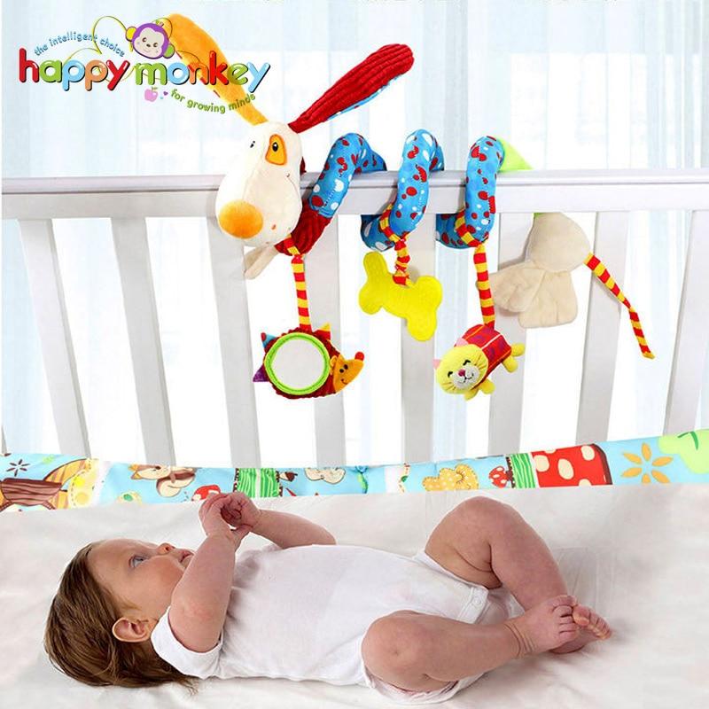 Baby Toys for Children 0-12 Months Plush Rattle Crib Spiral Hanging Mobile Infant Newborn Stroller Bed Animal Gift Happy Monkey