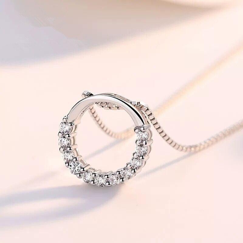 Hot Fashion Fine Round Rhinestone CZ Pendant Necklaces 925 Sterling Silver Semi Circle Zircon Choker Necklace Women Jewelry Gift