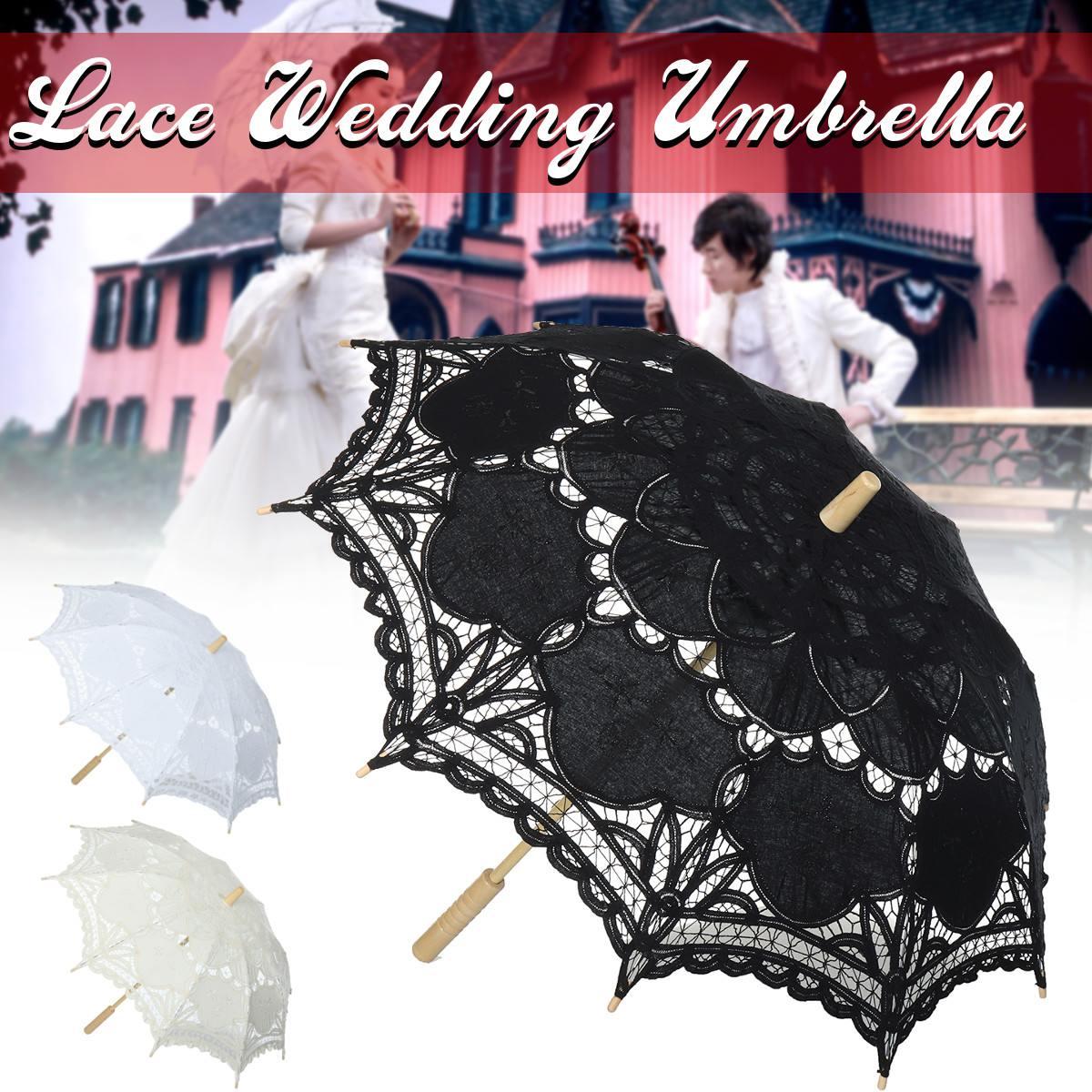 Long Handle Handmade Art Wedding Embroidery Pure Cotton Lace Wedding Umbrella Parasol Romantic Bridal Photograph Party Decor