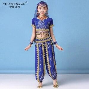 Image 5 - Ensemble Costumes de danse du ventre pour enfants, ensemble de Costumes de danse du ventre Oriental, vêtements indiens, 4 couleurs