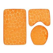 3PCS/set 3D Stone Bathroom Mats Set Non Slip Pedestal Rug Toilet Lid Cover Bath Mat