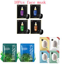 10Pcs Mixed fibroin Seaweed hyaluronic acid Face Mask Moisturizing Whitening Shrink Pores Anti-Aging Facial Masks Skin Care стоимость