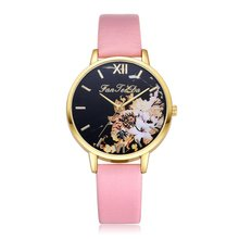 Classic Classic Luxury Flowers Pattern Leather Strap Dial Cheap Women Quartz