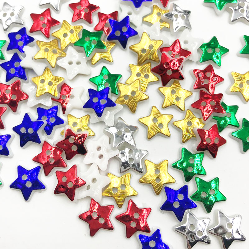 50/100PCS 12MM Star 2 Holes Plastic <font><b>Buttons</b></font> Children's Apparel Sewing Accessories DIY Scrapbooking Crafts PT301 image