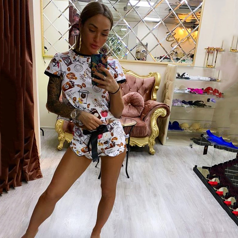 Hcb3ae39a766b4771aed1b9ed50cf9f92s - OMSJ New Women Funny Sleepwear Party Suit Summer Casual Crop Top And Shorts Sets Female Two Piece Outfits Fashion Tracksuit