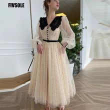 Fivsole Elegant Dotted Tulle Prom Gowns 2021 Long Puffy Sleeves Black Lapel Neck Buttons 2021 A Line Tea Length Homecoming Dress