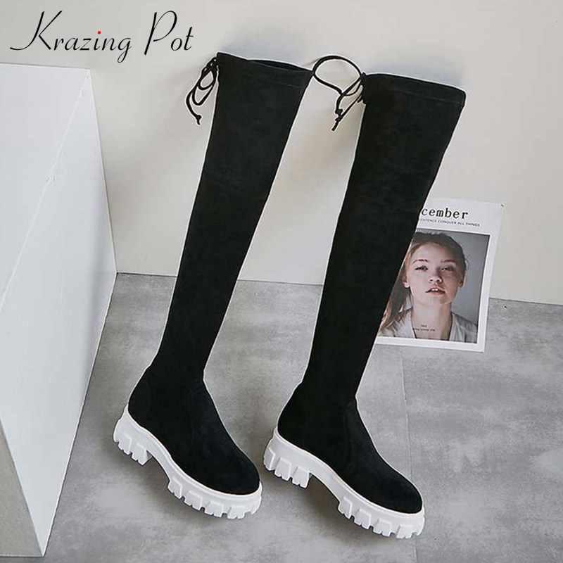 Krazing pot kore popüler moda inek deri streç akın çizmeler yuvarlak ayak yüksek topuklu kalın alt kadın uyluk yüksek çizmeler l20