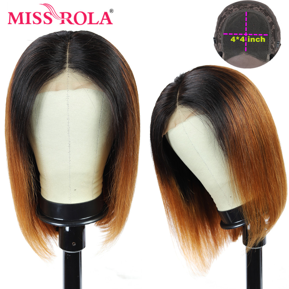 Miss Rola 4*4 Lace Closure Human Hair Wigs Brazilian Remy Hair Straight Short Bob Wig T1B/30 Wigs For Women 150% Density