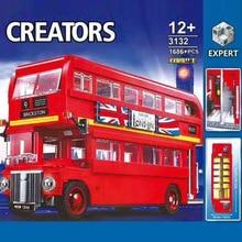 Creator Expert vehicle Red double decker 1686PCS city London bus building block children educational toy