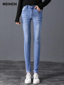 MDINCN High-Waist Jeans Volum-Pants Elastic The And of Tight Autumn Spring Thin Have