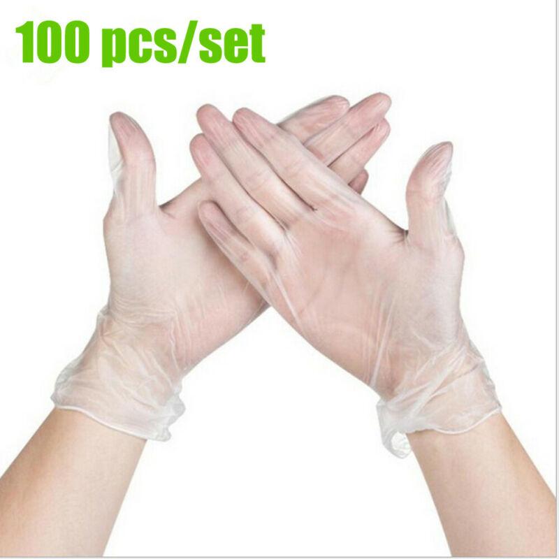 100 Pcs Disposable Gloves Clear PVC Multifunctional Powder Free Size S M L XL
