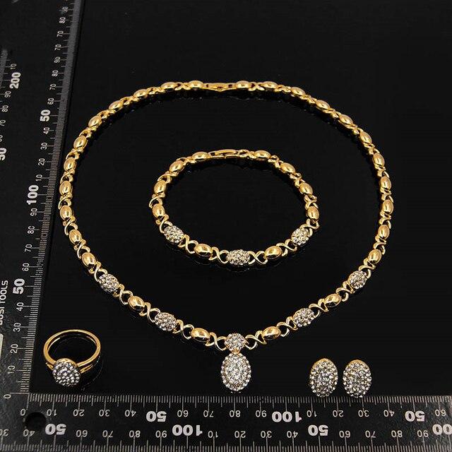 Conjunto de joyería en forma de O de cristal para boda, collar, pendientes, pulsera, anillo, Color dorado, de alta calidad, novedad, venta al por mayor 5
