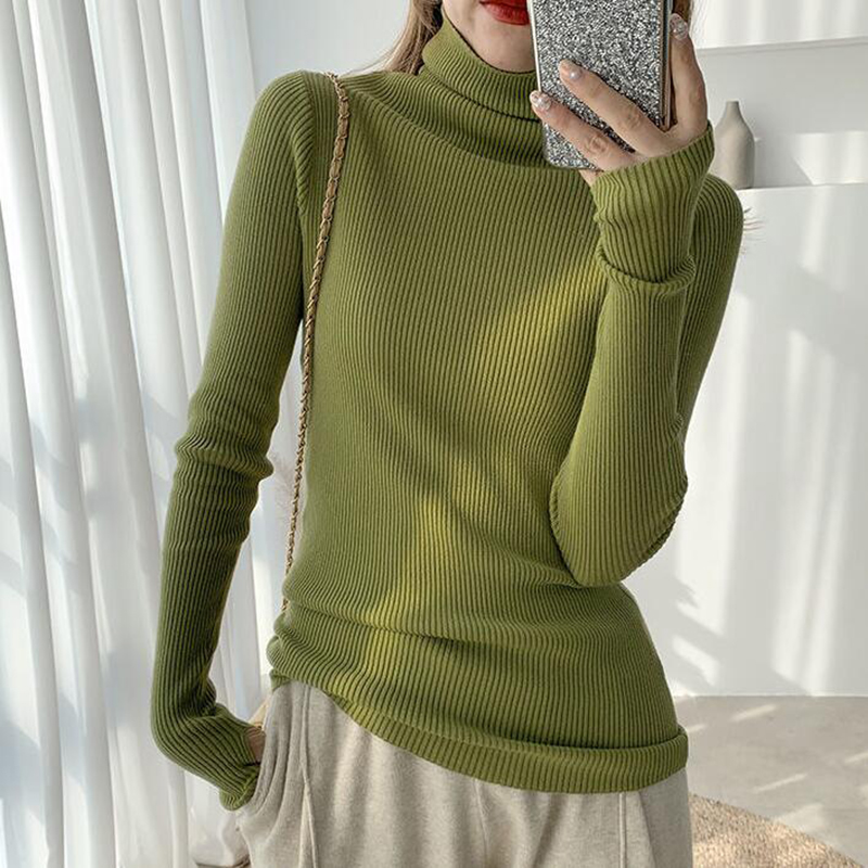 Solid Slim Turtleneck Sweater Ladies Long Sleeve Pullover Knit Tops Woman Sweaters New Fashion 2021 Autumn Winter Women's Top