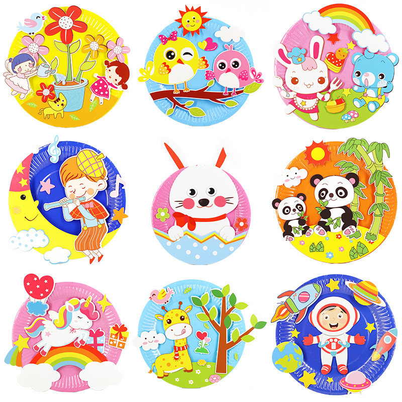 Animal Cartoon Paper Plate Drawing DIY Handmade Craft Toys Material Package Children Creative Puzzle Toys Colorful Paper Plate