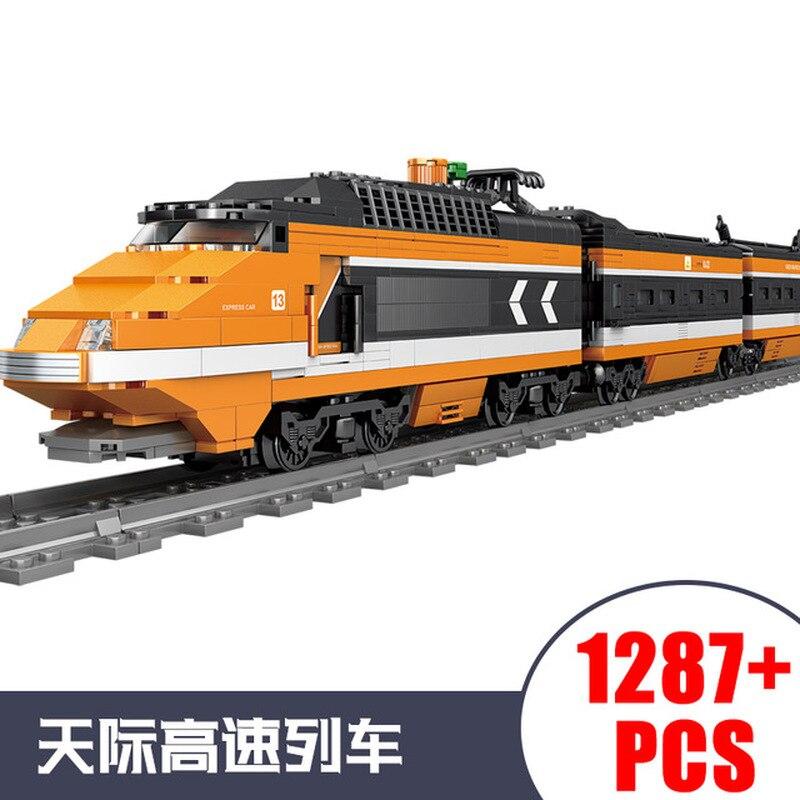 KAZI City Train Power Function Technic Building Block Bricks DIY Tech Toys For Children Leduo Brand Christmas Gift