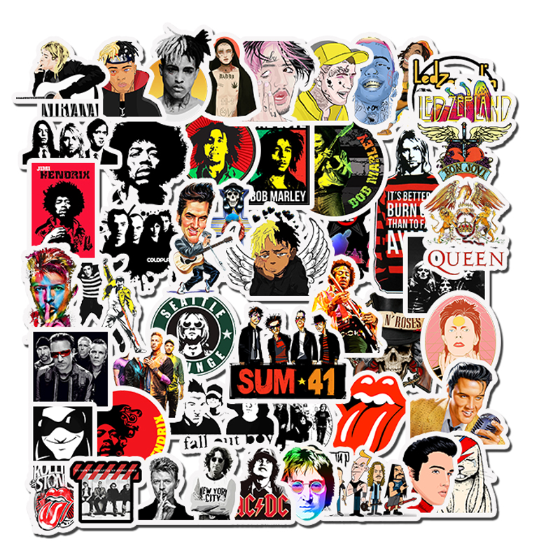 50pcs Rock Roll Hip Hop Punk Music Band Stickers Waterproof Decals Fridge Car Motorcycle Laptop Guitar Sticker Kids Classic Toy